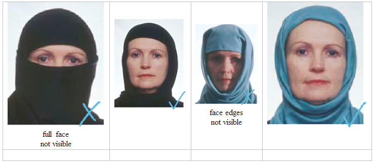 Religious attire on a passport photo