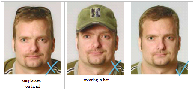 Hats on a passport photo