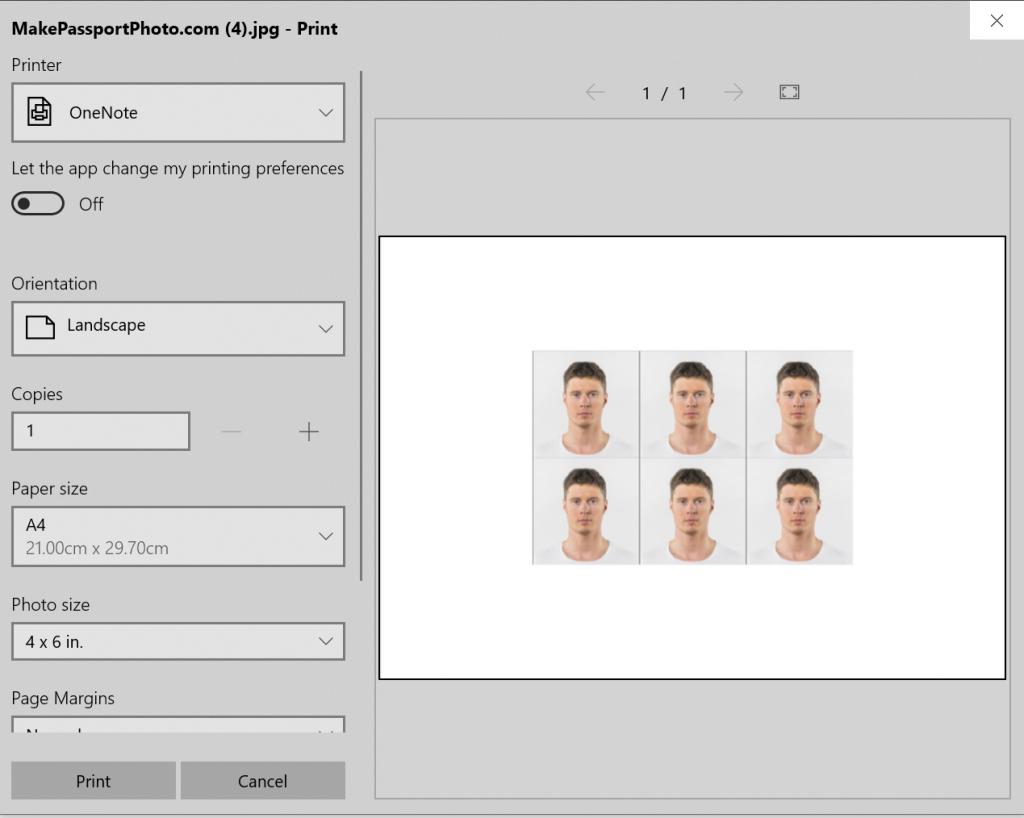 Select the printing option