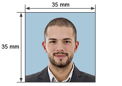 Size for a passport photo in India​