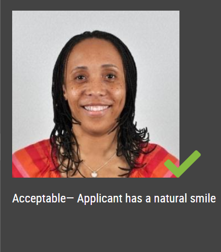 can you smile in a passport photo
