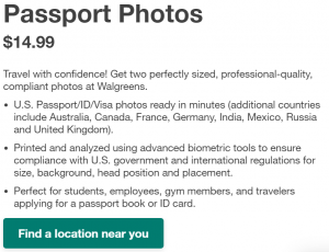 Walgreens passport photo price