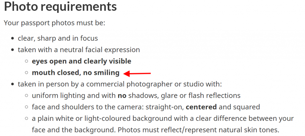 canadian passport photo guidelines