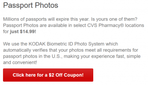 CVS passport photo pricing